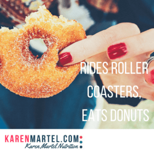 Rides roller coasters, eats donuts