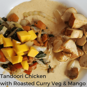 Tandoori Chicken with Roasted Curry Vegetables and Mango